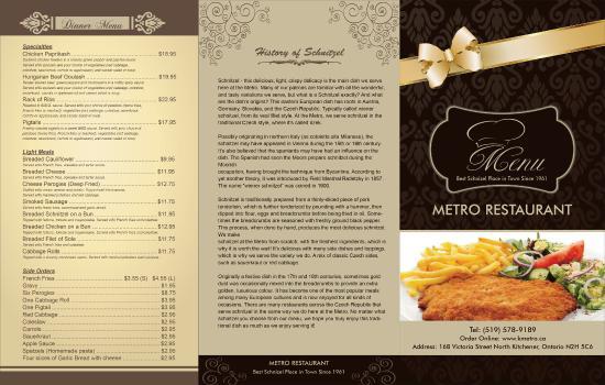 Metro Restaurant Menu Kitchener