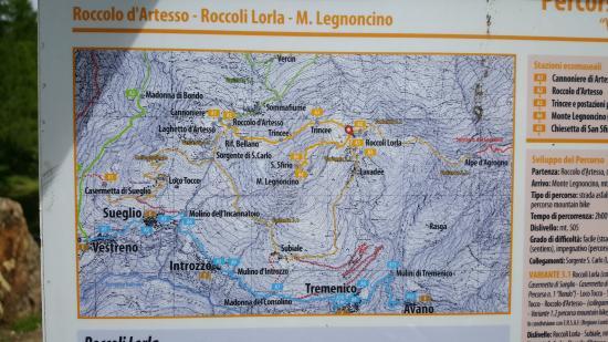 Rifugio Roccoli Lorla: Cartina della zona Roccoli Lorla