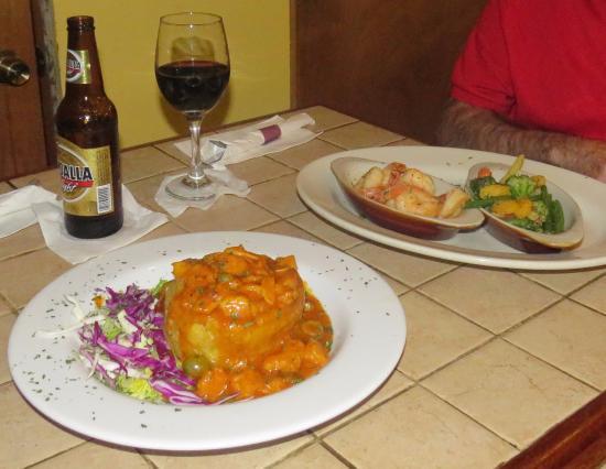 Boronia: Shrimp mofongo on left, grilled shrimp & veggies on right