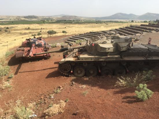 Merom Golan: T-62 Syrian tank and Centurion Israeli tank at the memorial site