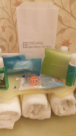 Holiday Inn Express Hotel & Suites Watertown-Thousand Islands: The earplugs, mouthwash and shoe mitt were thoughtful touches