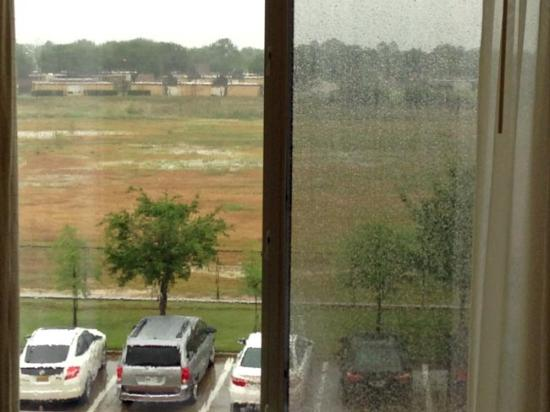 Fairfield Inn & Suites Denton: View from room 324 on a very rainy day.