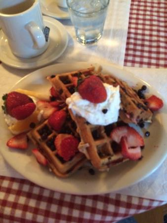 Proctorsville, VT: Belgian Waffle with Fresh Strawberries, Blueberries and Chocolate Chips