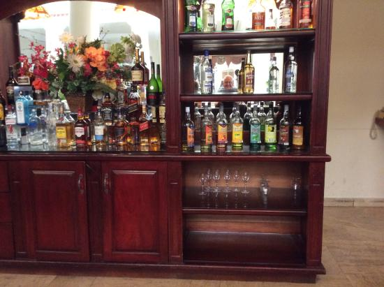 the bar area, look in mirror