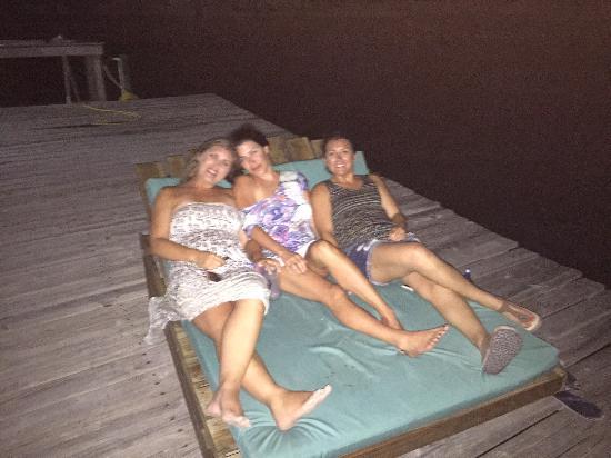 Playa Blanca Villa: Ladies on the dock lounger.