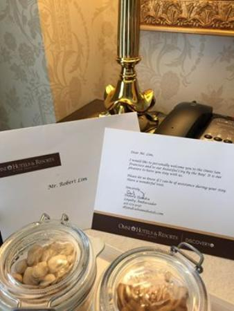 Omni San Francisco Hotel: Feeling specially welcomed... a simple gesture goes a long way.