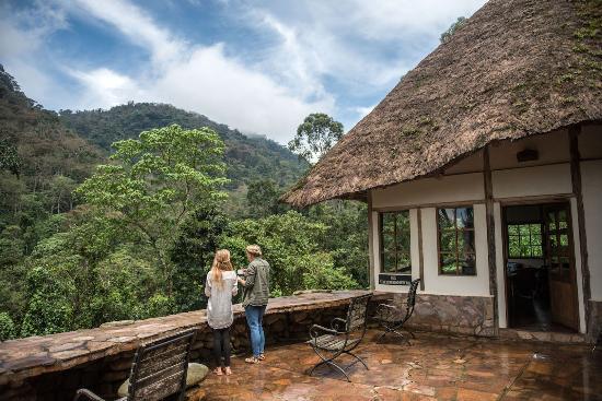 Main building terrace, Bwindi Lodge, closest lodge to start of gorilla tracking, Buhoma, Uganda