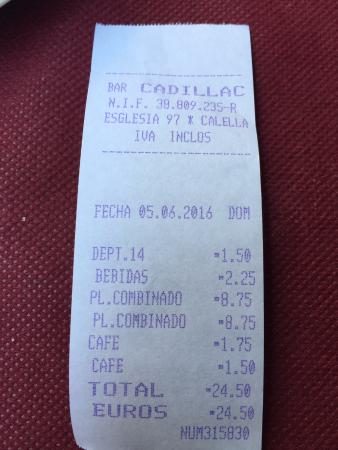 Cadillac : Bebidas -> Agua pequeña + Lata Coca Cola.