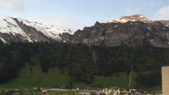 Hotel Terrace , truly on the terrace with awesome view of the Village,Mount Titlis