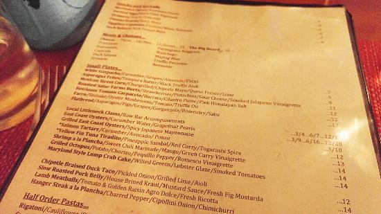 Petulant Wino Restaurant Menu