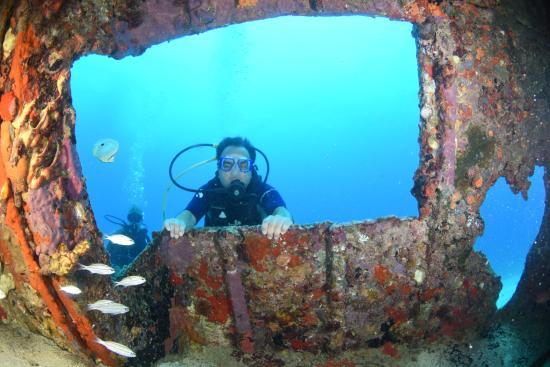 bahía de Simpson, Isla de San Martín: Me looking thru the window of a small wreck