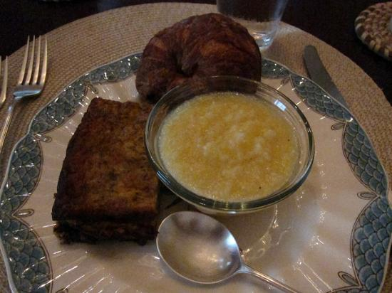15 Church Street Bed & Breakfast - Phillips-Yates-Snowden House: Breakfast frittata, grits, and croissant