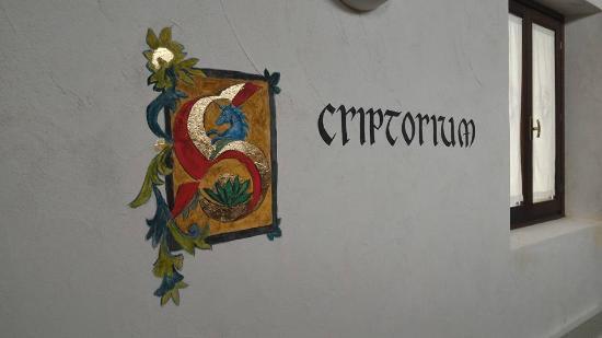Province of Udine, Italy: Affresco con l'iniziale dello Scriptorium Foroiuliense