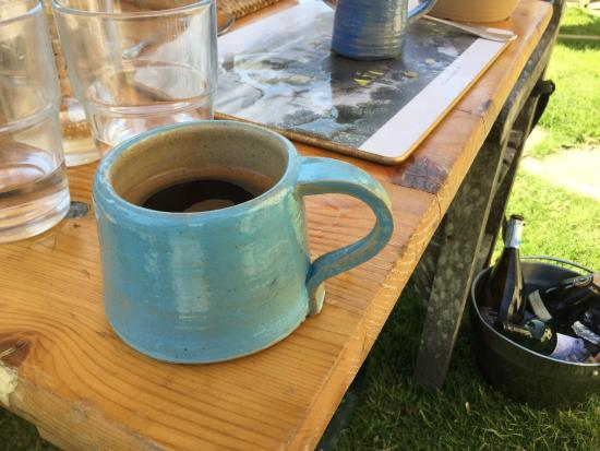 Newbridge-on-Wye, UK: Drinking from my new hand thrown mugs on Alex Allpress pottery school courses in mid Wales