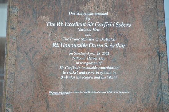 Kensington Oval: Inscription on statue