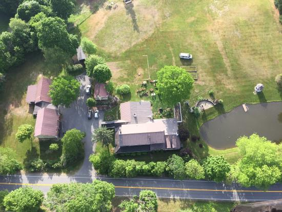 Inn at Clearwater Pond: Aerial view of the inn from our hot air balloon.