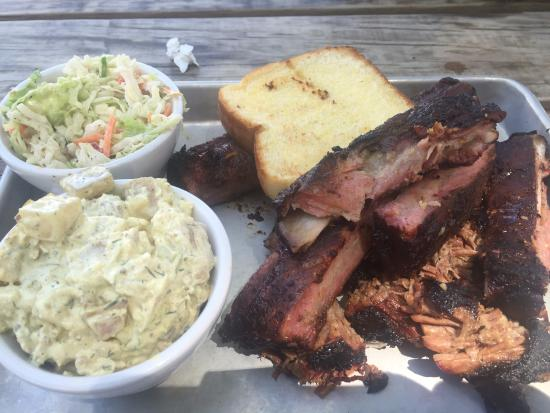 Georgia Boys BBQ: St Louis Spare ribs & burnt ends brisket with sides