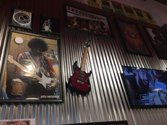Fairlawn, OH: Cose up of Jimi Hendrix wall display
