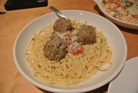 Olive Garden: Meatball pasta.. super simple and yummy.
