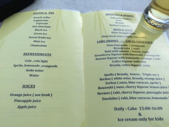Kreta Karte Stalis.All Inclusive Getrankekarte Wein Ungeniessbar Picture Of