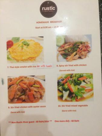 Rustic Guesthouse: breakfast menu