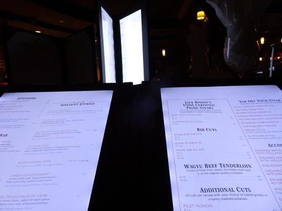 Elizabeth, IN: Lighted Menu at Binions - foreground menu is actual menu and readable without flash
