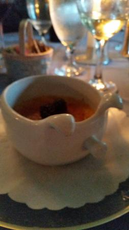 Inn at Phillip's Mill Restaurant: My creme brule in a pig bowl (of course, their theme!)
