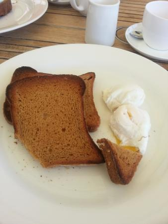 two slices of toast and two poached eggs 5 95 only one slice if