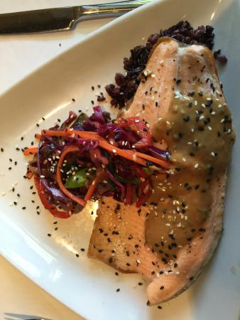 Artichoke Cafe: trout with purple sticky rice, red cabbage slaw