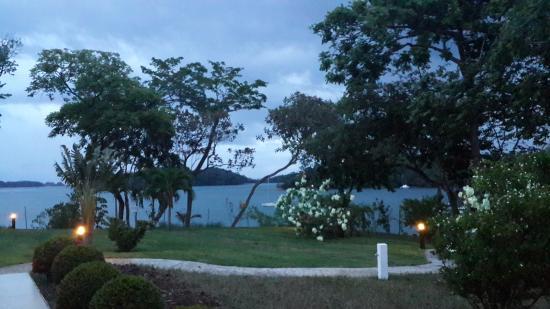 Hotel Bocas del Mar: Jardines frente restaurante