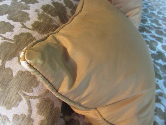 Ston Easton, UK: Stained and frayed cushion