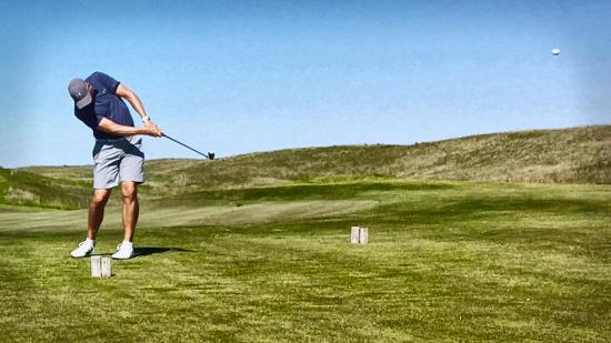 the prairie club teeing off on a par 3 on the dunes course