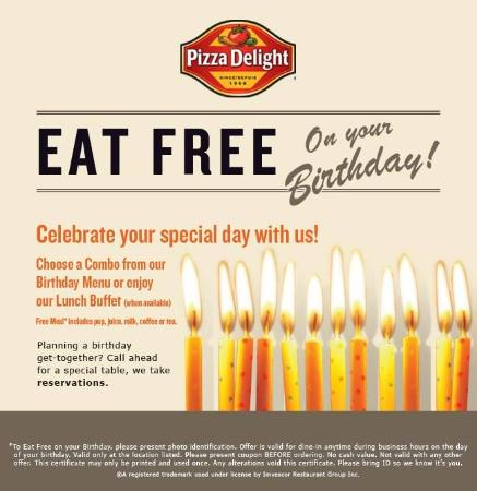eat free on your birthday Eat Free on Your Birthday!   Picture of Pizza Delight, Halifax  eat free on your birthday