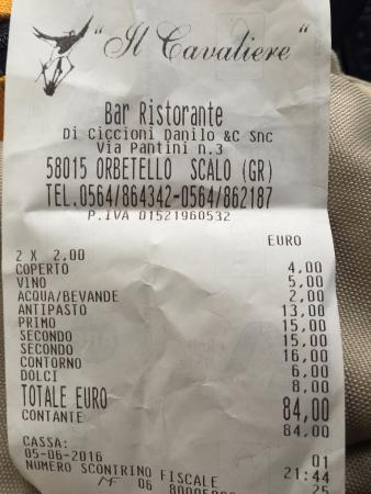 Orbetello, Italy: conto per niente salato