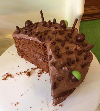 Coldstream, UK: Mint chocolate cake. NOM NOM NOM. :-)