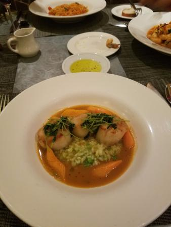 Seared Scallops with English Pea Risotto