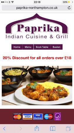 Northamptonshire, UK: Our website: www.paprika-cuisine.co.uk