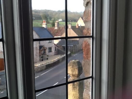 Croscombe, UK: The view from my room showing the top of the cross that the b&b is named after.