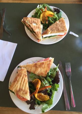 Old Town Cafe: Breakfast Paninis with salad, Smoked Turkey and Brie