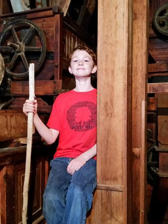 Neligh Mills: Trying out a ladder in the mill.