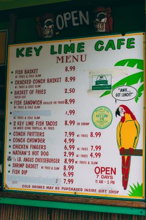 The Key Lime Cafe: Menu options. The Key Lime food and products are kept inside in the air conditioning.
