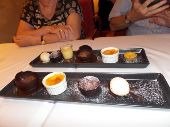 The sweet selection, three and six desets with ice cream