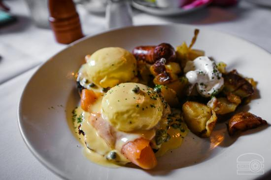 Cafe Bacchus: SMoked Salmon Benny w/ home fries and chorizo