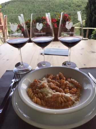 Castiglion Fiorentino, İtalya: Fantastic winery tour and lunch at Querchetto di Castellina.