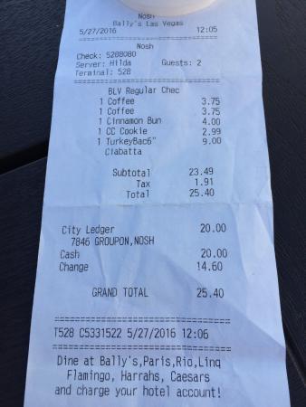 Nosh Las Vegas : the bill