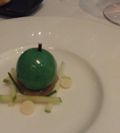 """Apple fois gras. The fois gras is cleverly encased in a man made """"Apple"""""""
