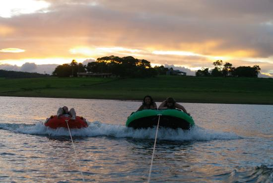 Cairns Wakeboarding: Tubing sunset