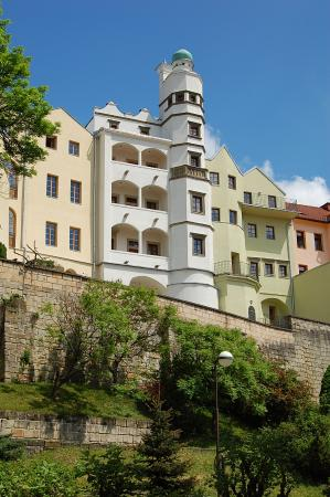 Chrudim, Czech Republic: Magnificient panorama of the Mydlář´s House from the south