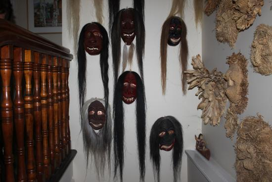 Turtle Island Bed and Breakfast: native indian masks adorn the upstairs of home