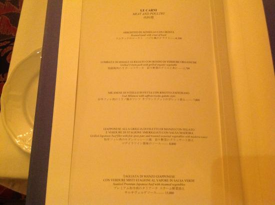Menu In The Italian Restaurant Limited And Expensive And SharkS